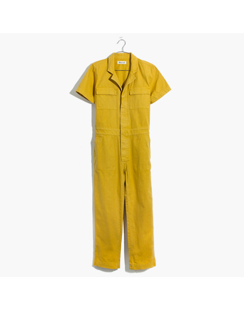 Short-Sleeve Coverall Jumpsuit in greek gold image 4