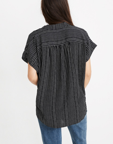 Central Drapey Shirt in Harold Stripe in thin true black image 3