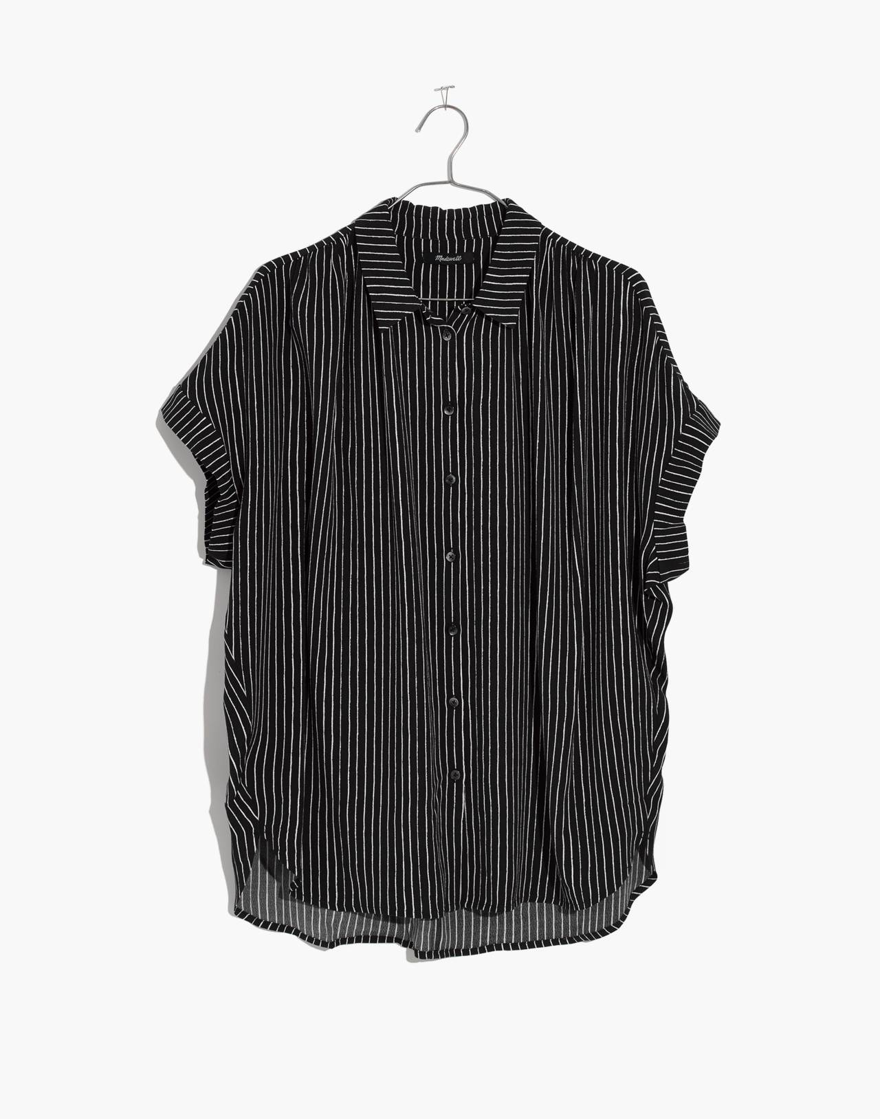 Central Drapey Shirt in Harold Stripe in thin true black image 4