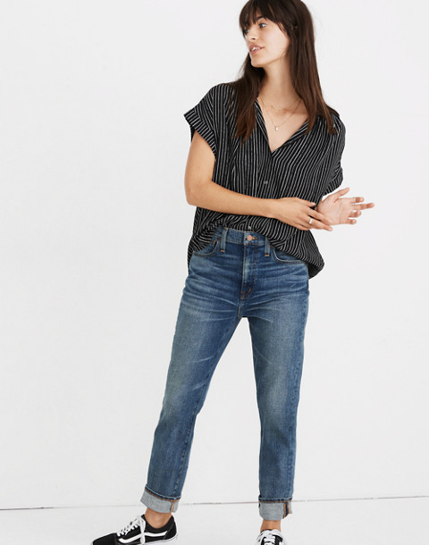 Central Drapey Shirt in Harold Stripe in thin true black image 1