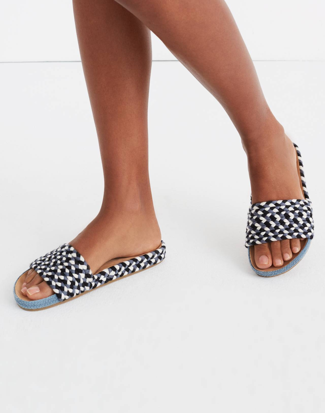 Soludos® Braided Pool Slides in blue multi image 2