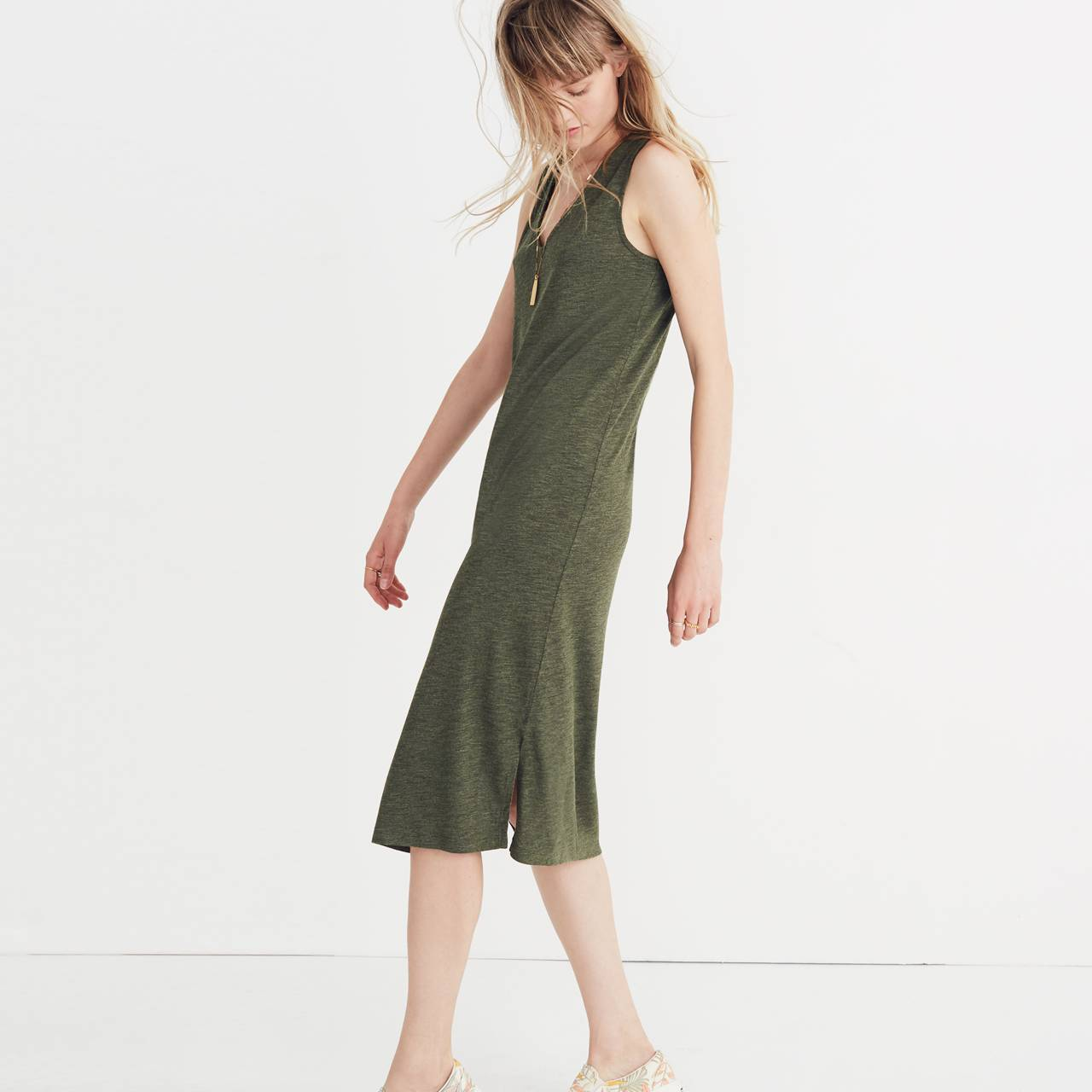 V-Neck Jersey Tank Dress in hthr loden image 2