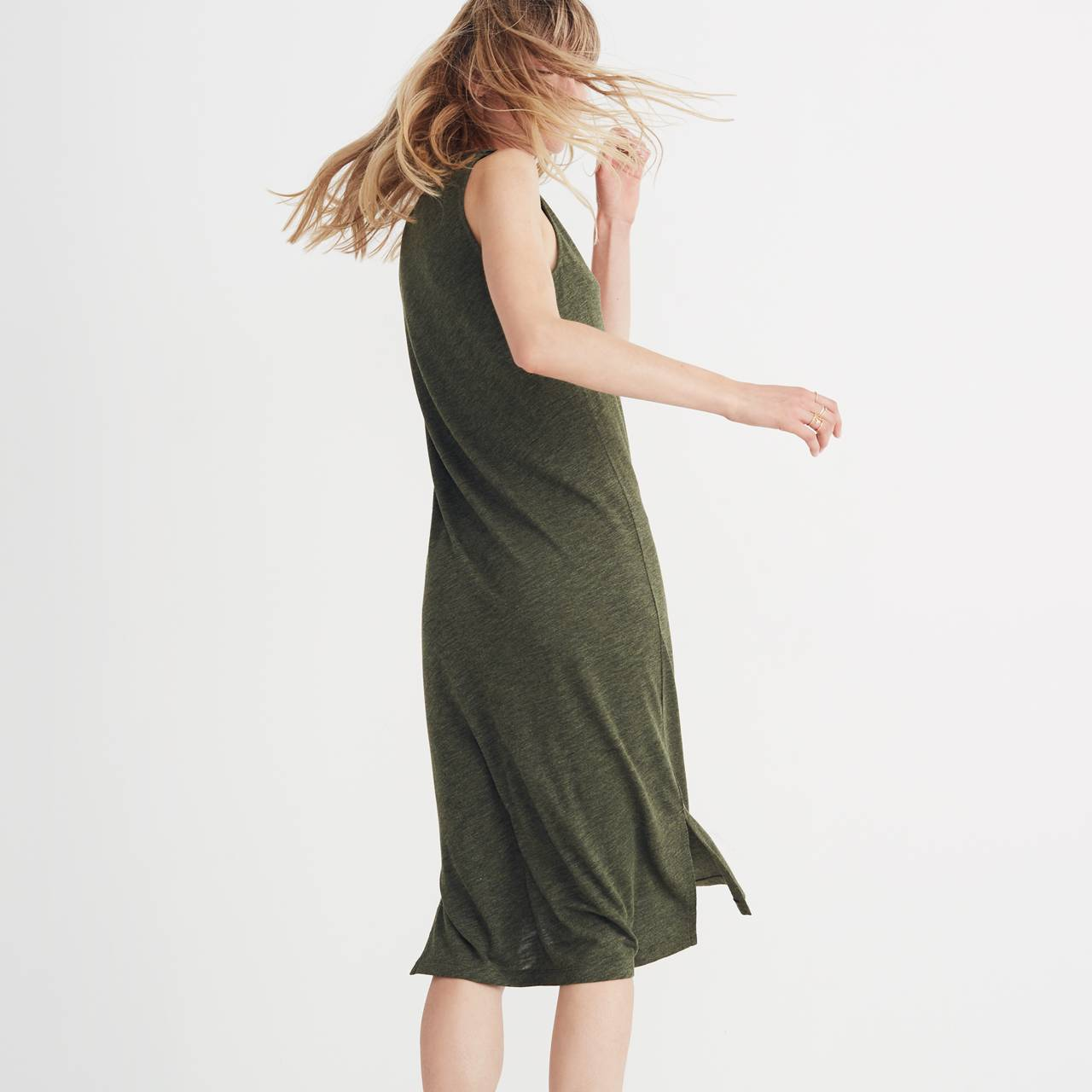 V-Neck Jersey Tank Dress in hthr loden image 3