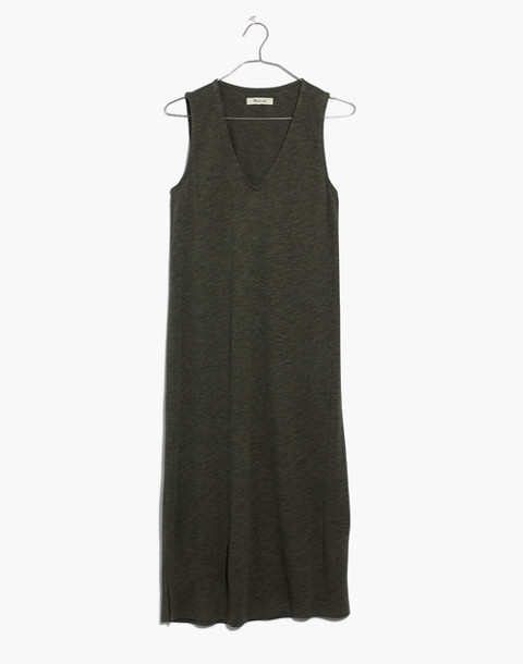 V-Neck Jersey Tank Dress in hthr loden image 4