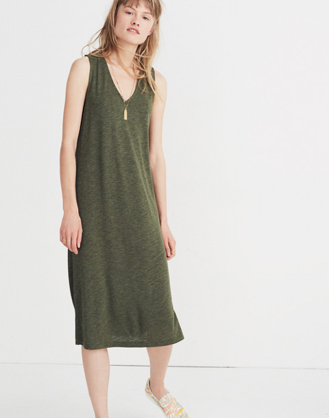 V-Neck Jersey Tank Dress in hthr loden image 1