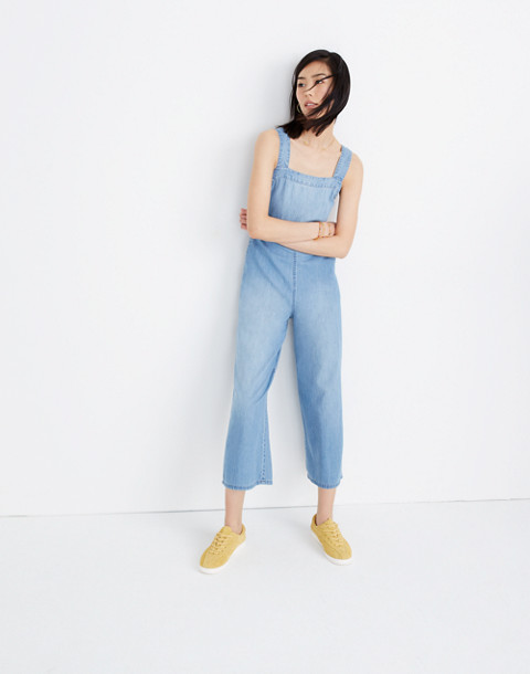 Denim Apron Bow-Back Jumpsuit in ronda wash image 2
