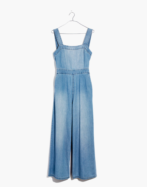Denim Apron Bow-Back Jumpsuit in ronda wash image 4