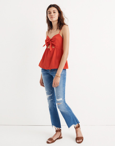 Silk Tie-Front Keyhole Cami Top in ripe persimmon image 2