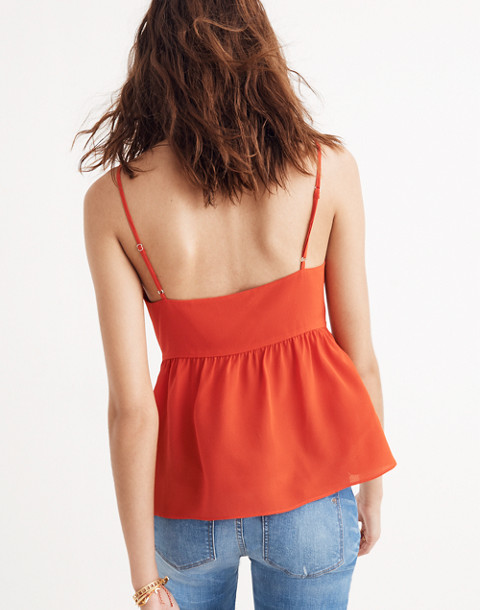 Silk Tie-Front Keyhole Cami Top in ripe persimmon image 3