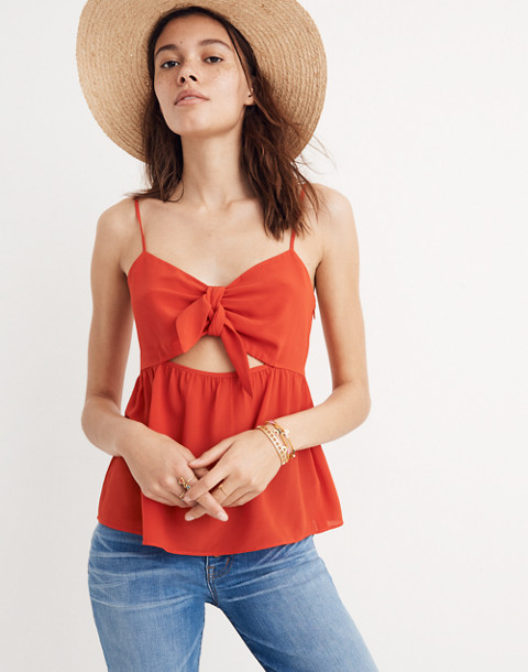 Silk Tie-Front Keyhole Cami Top in ripe persimmon image 1