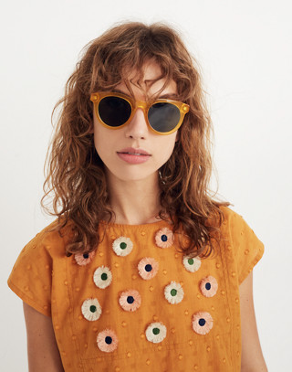 Embroidered Sunflower Top in boutique gold image 3