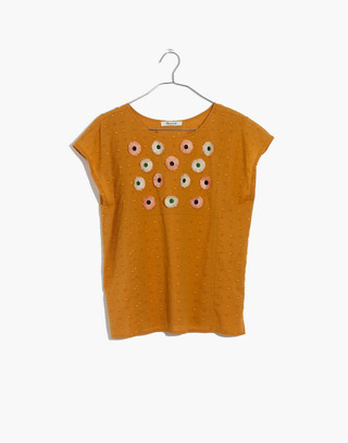 Embroidered Sunflower Top in boutique gold image 4