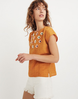 Embroidered Sunflower Top in boutique gold image 1