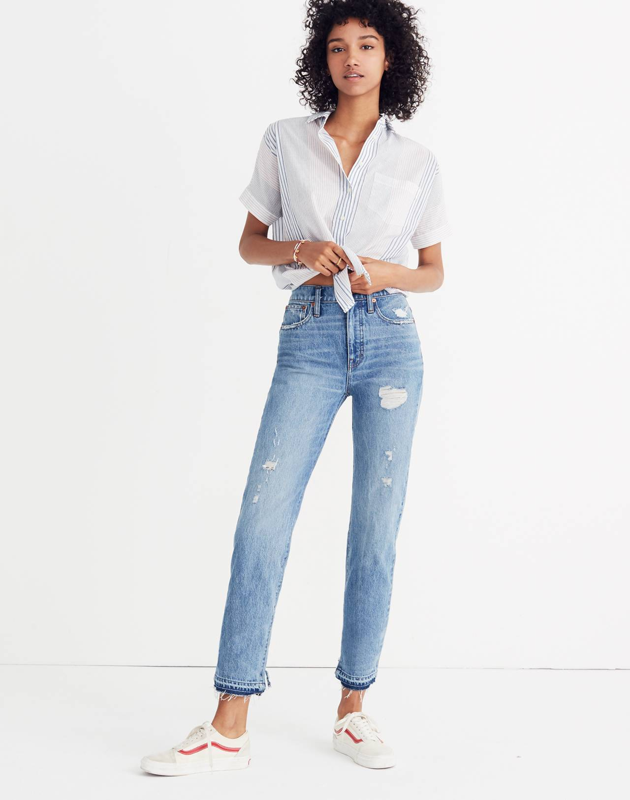 Classic Straight Jeans: Destructed Edition in tyler wash image 1