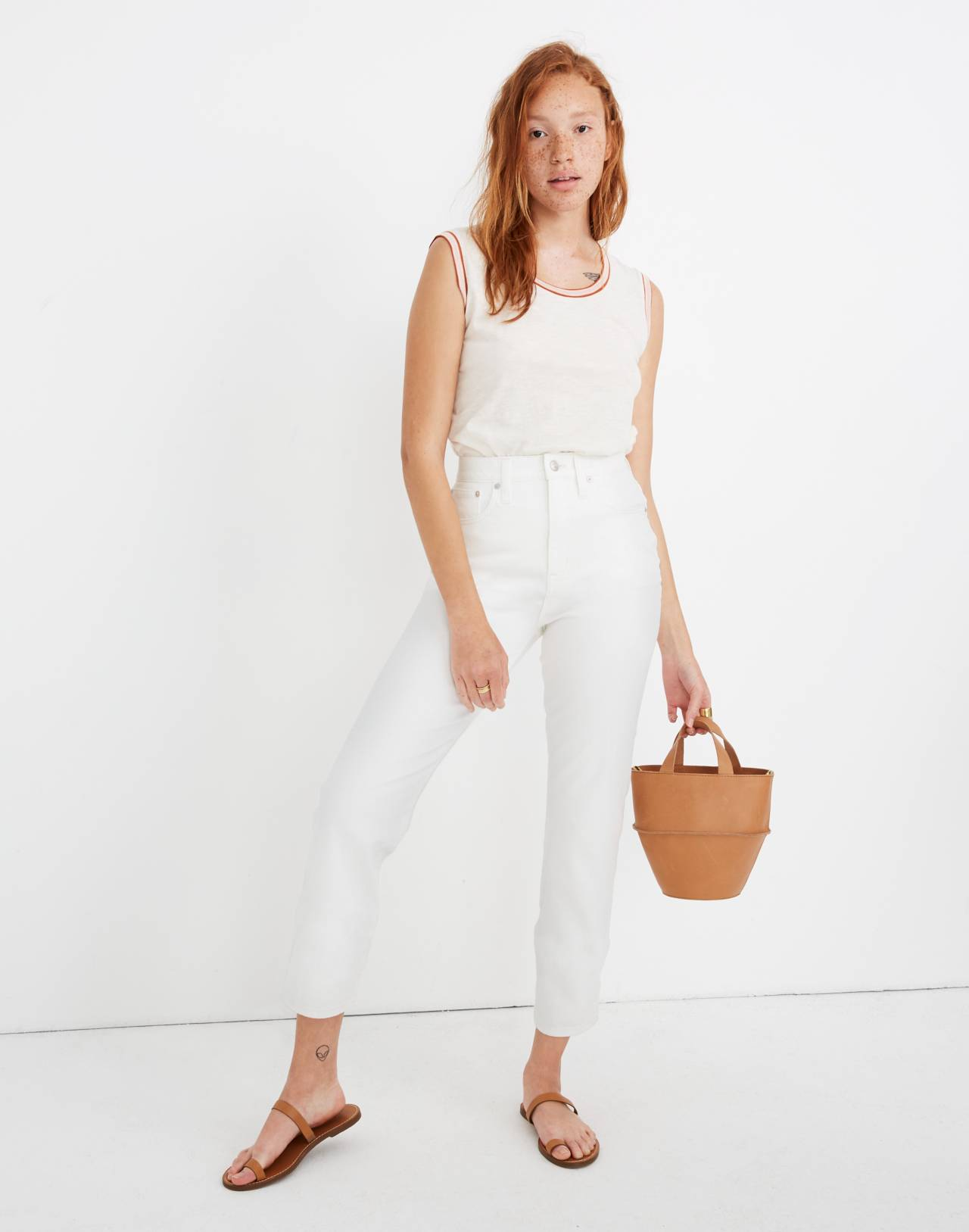 Classic Straight Jeans in Tile White in tile white image 1