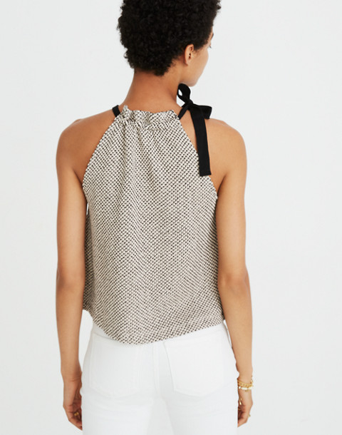 Texture & Thread Tie-Neck Halter Top in natural image 3
