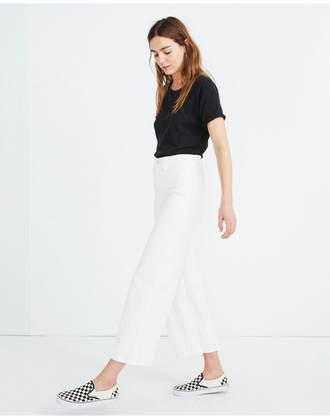 Emmett Wide-Leg Crop Jeans in Tile White in tile white image 2