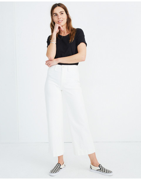 Emmett Wide-Leg Crop Jeans in Tile White in tile white image 1