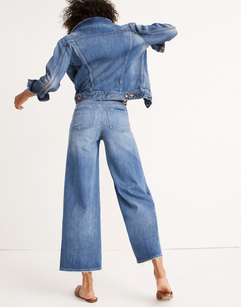 Tall Wide-Leg Crop Jeans in Finney Wash in finney wash image 3