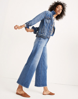 Wide-Leg Crop Jeans in Finney Wash in finney wash image 1