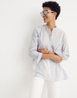 Wellspring Tunic Popover Shirt in Rawley Stripe