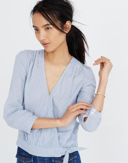 Wrap Top in Albury Stripe