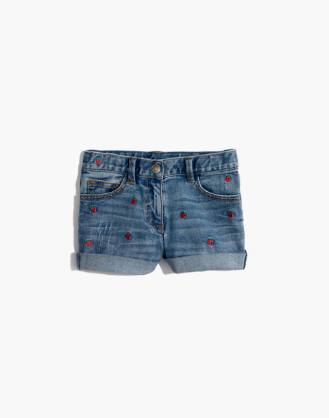 Madewell x crewcuts Kids' Strawberry Embroidered Jean Shorts in philly wash image 2