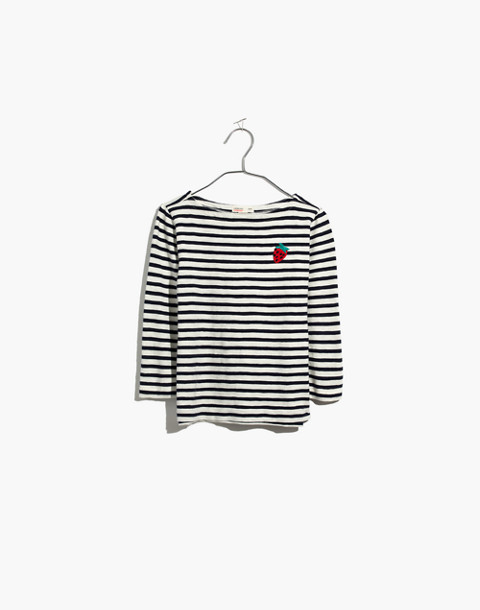 Madewell x crewcuts Kids' Strawberry Embroidered Striped Tee