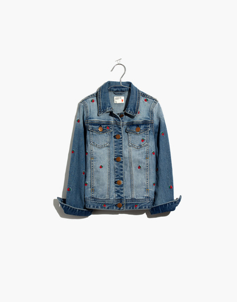 Madewell x crewcuts Kids' Strawberry Embroidered Jean Jacket in philly wash image 1