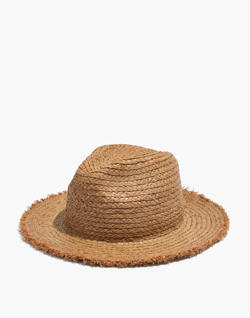 Raw-Edged Straw Fedora