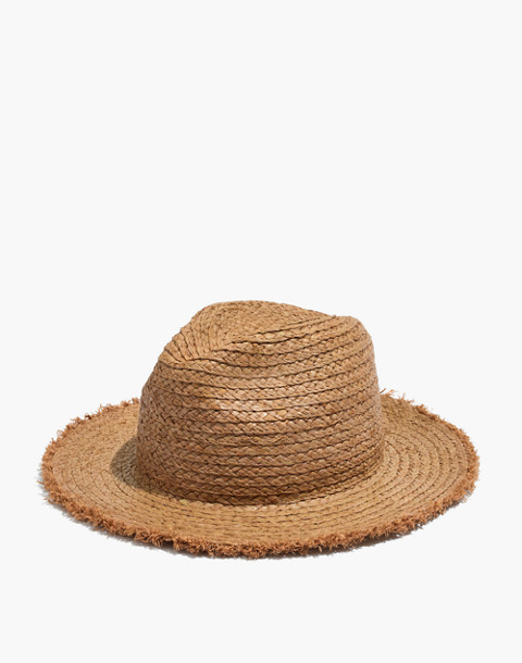 Raw-Edged Straw Fedora in light tobacco image 1