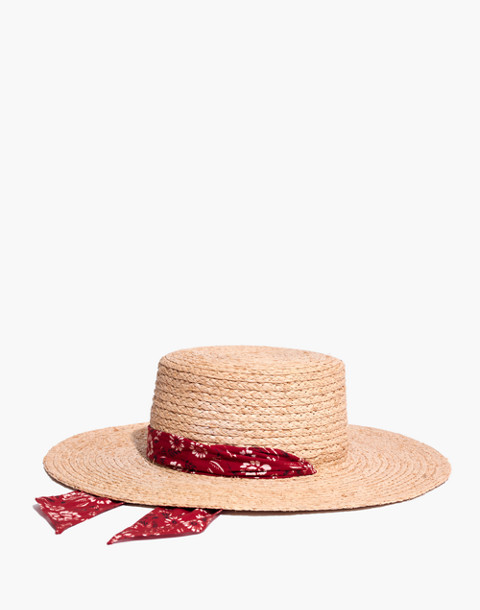 Bandana Straw Hat in natural straw image 1
