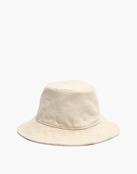 Short-Brimmed Canvas Bucket Hat in natural image 1