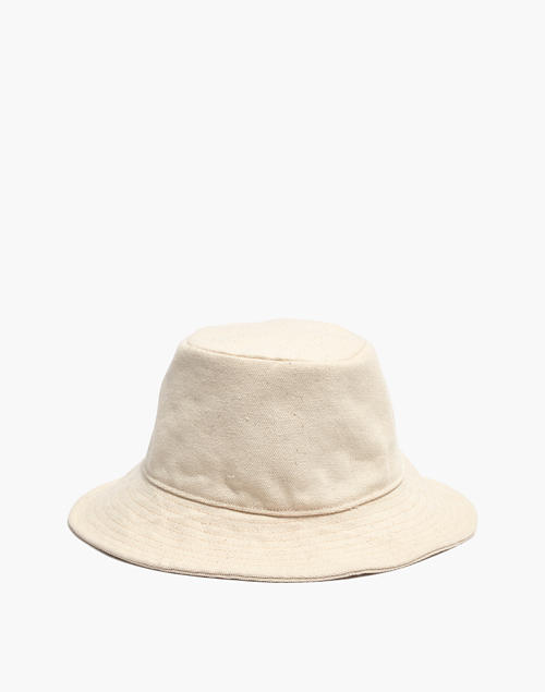 73312068792 Short-Brimmed Canvas Bucket Hat in natural image 1