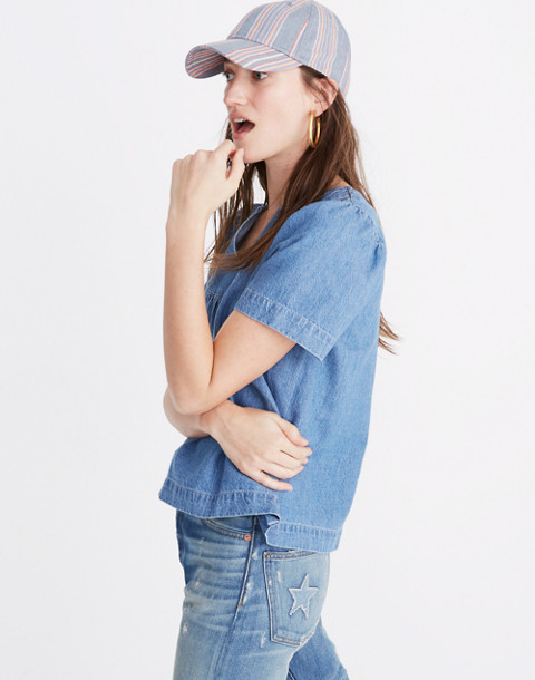 Denim Popover Swing Top in rosalie wash image 2