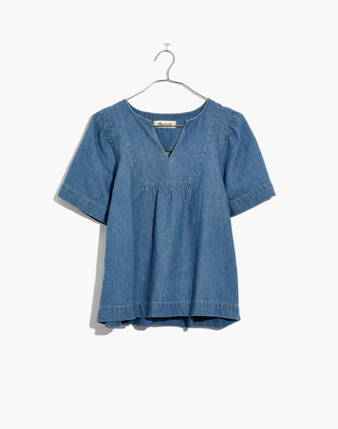 Denim Popover Swing Top in rosalie wash image 4