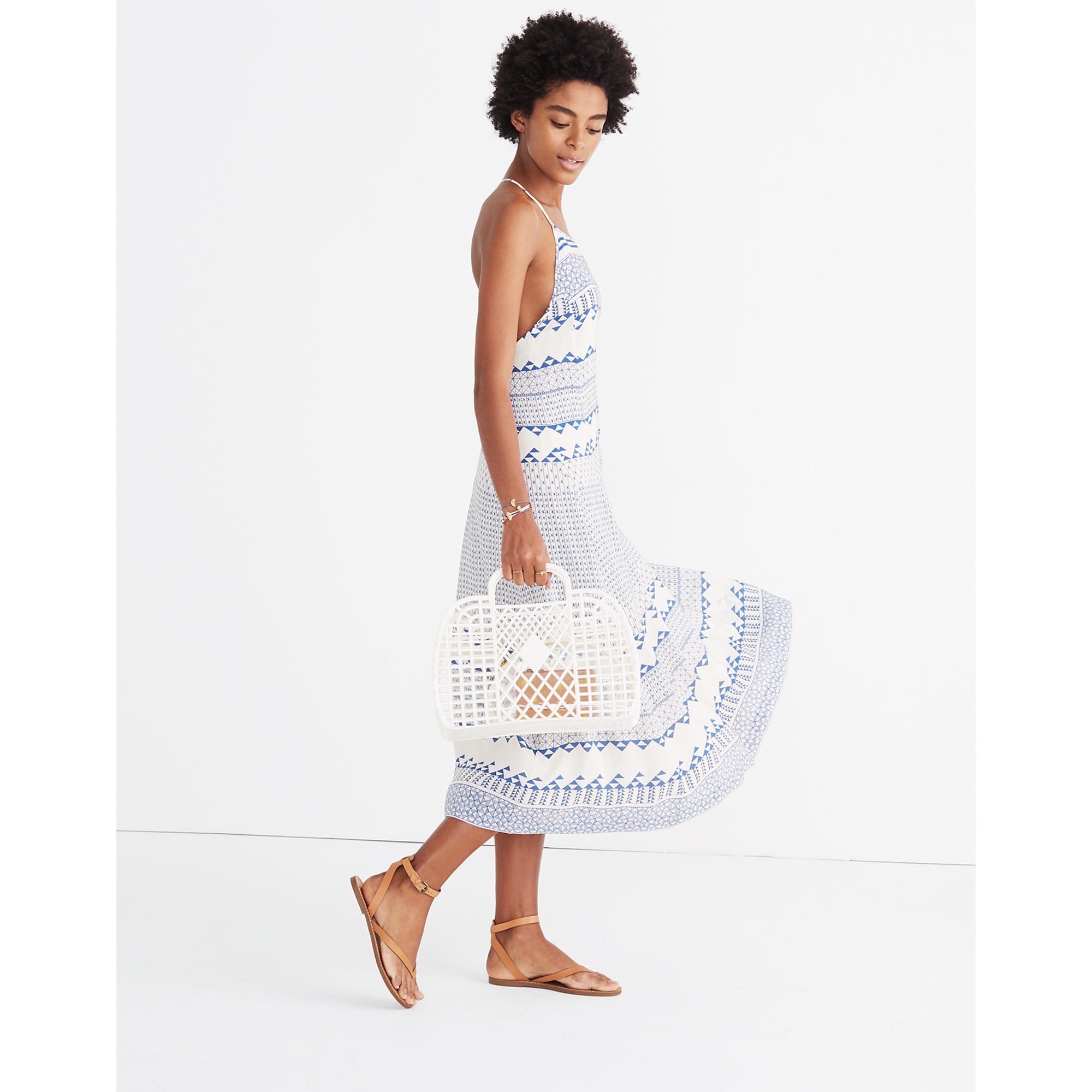 Madewell open-back trapeze dress in ionian tile