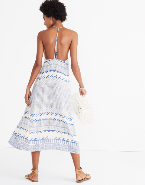 Open-Back Trapeze Dress in Ionian Tile
