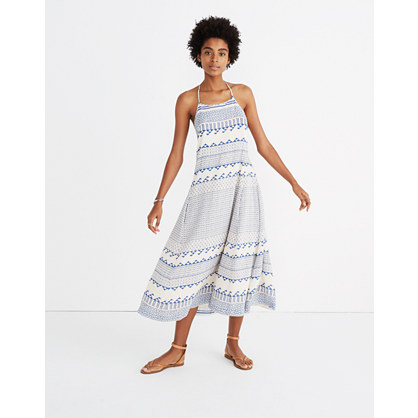 Open-Back Trapeze Dress in Ionian Tile