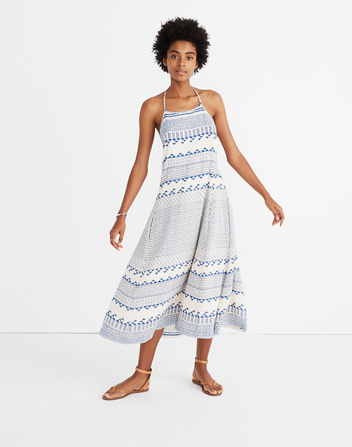 7662b20df41bf Open-Back Trapeze Dress in Ionian Tile in mesa tulum blue image 1