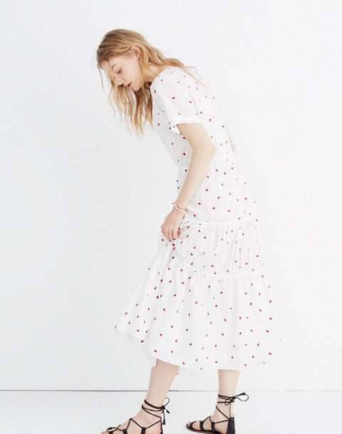 Embroidered Button-Front Tiered Midi Dress in Fresh Strawberries
