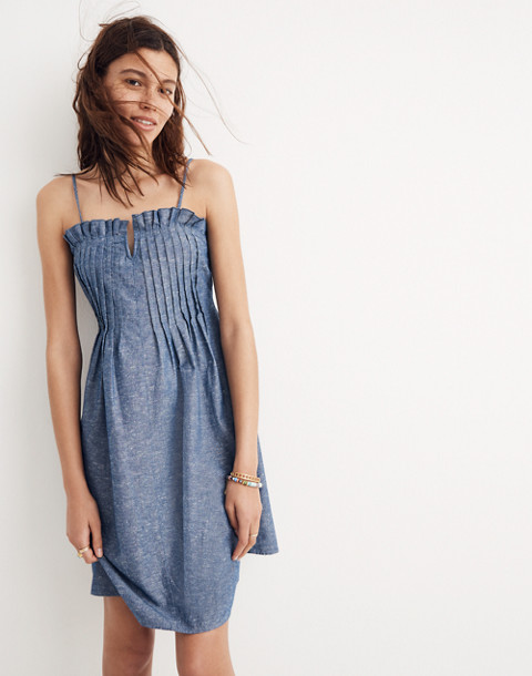 Denim Pintuck Cami Dress in bengali indigo image 3
