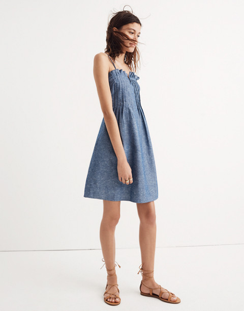 Denim Pintuck Cami Dress in bengali indigo image 1