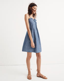 Denim Pintuck Cami Dress
