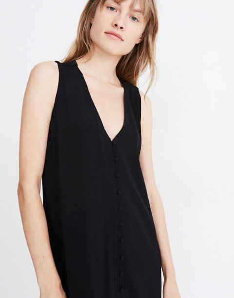 Heather Button-Front Dress in true black image 2