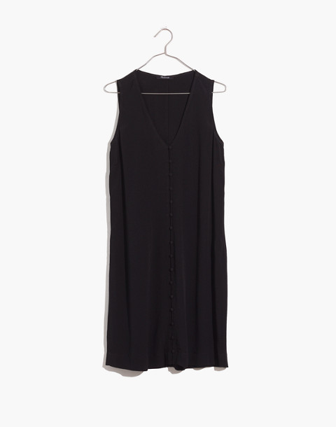 Heather Button-Front Dress in true black image 4
