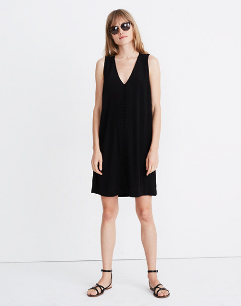 Heather Button-Front Dress in true black image 1