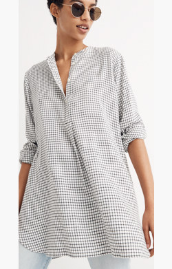 Wellspring Tunic Popover Shirt in Windowpane