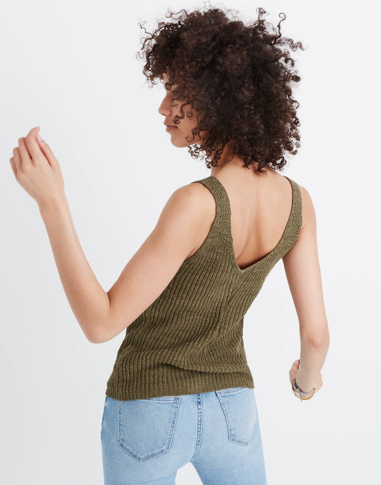Monterey Sweater Tank in dark olive image 2