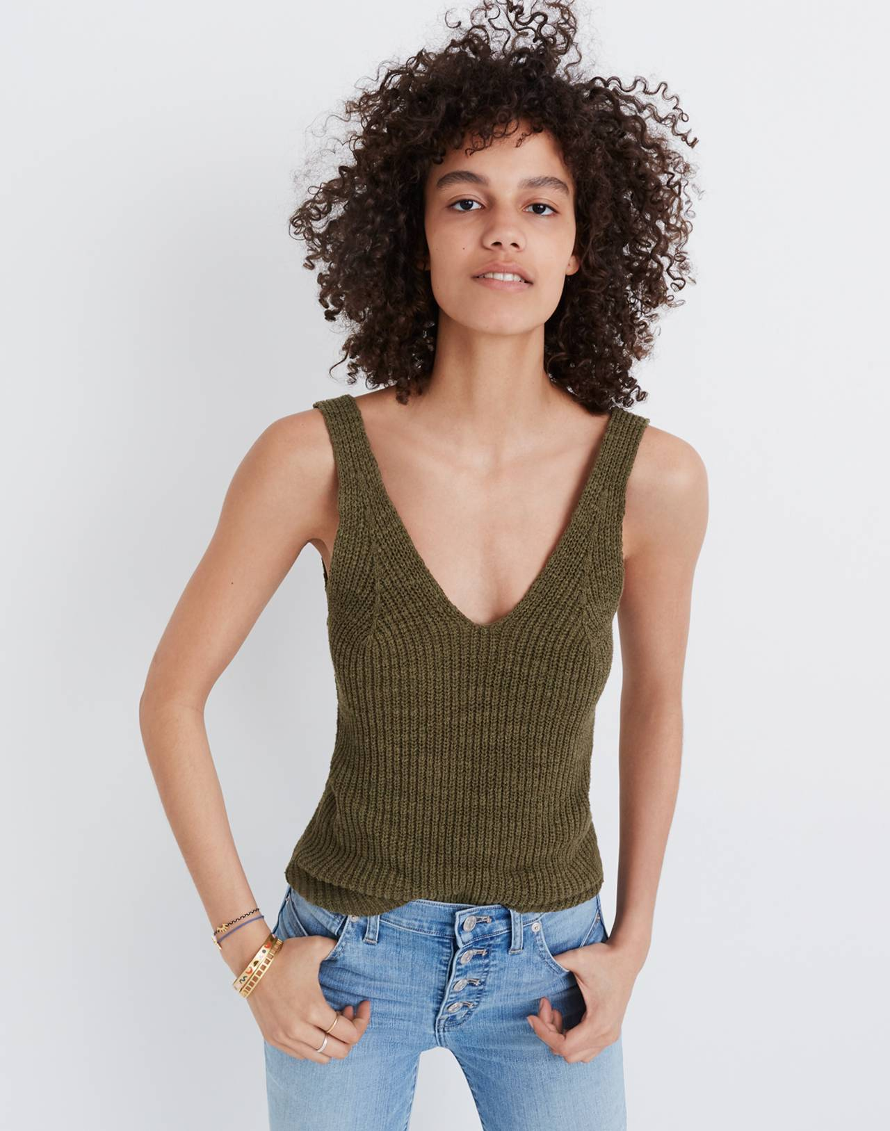 Monterey Sweater Tank in dark olive image 3